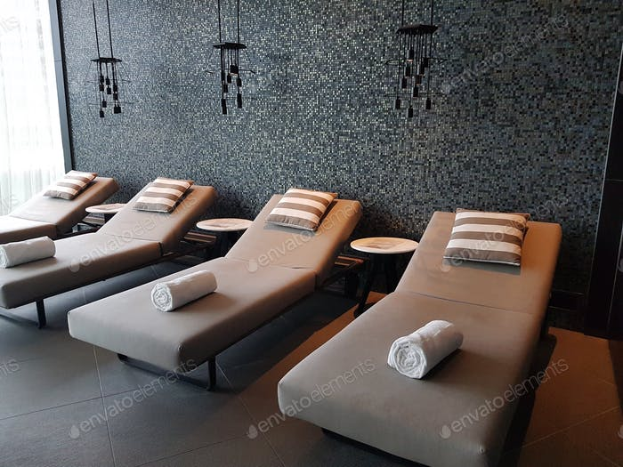 Relaxation beds lined up at the spa