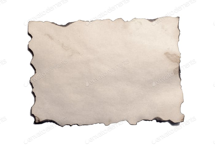 Old blank piece of antique vintage crumbling paper manuscript or parchment horizontally oriented