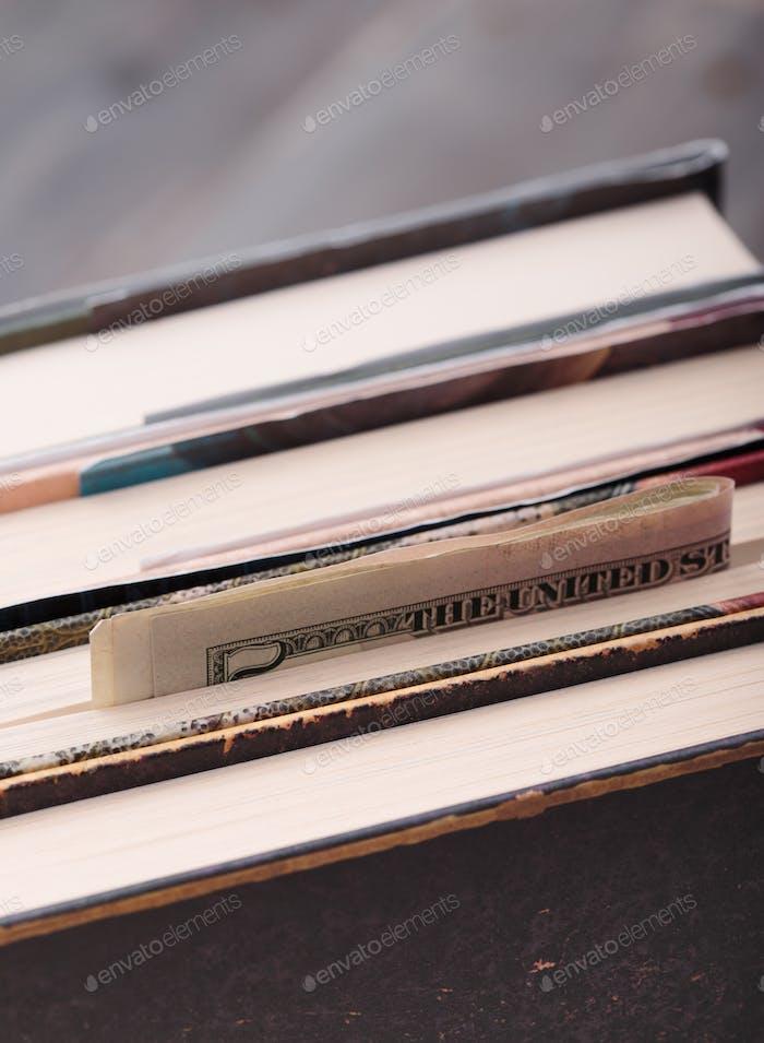 Money hidden in books