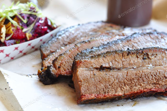Smoked brisket with sides.