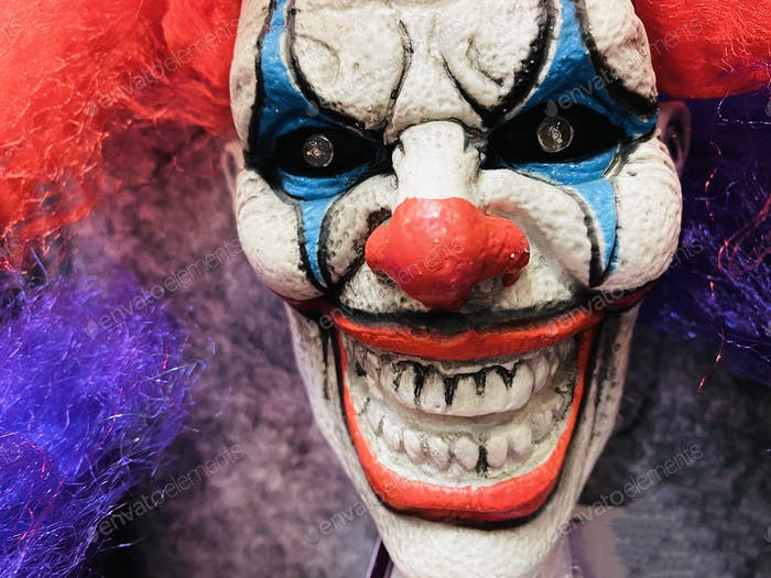 Scary creepy Halloween clown decoration