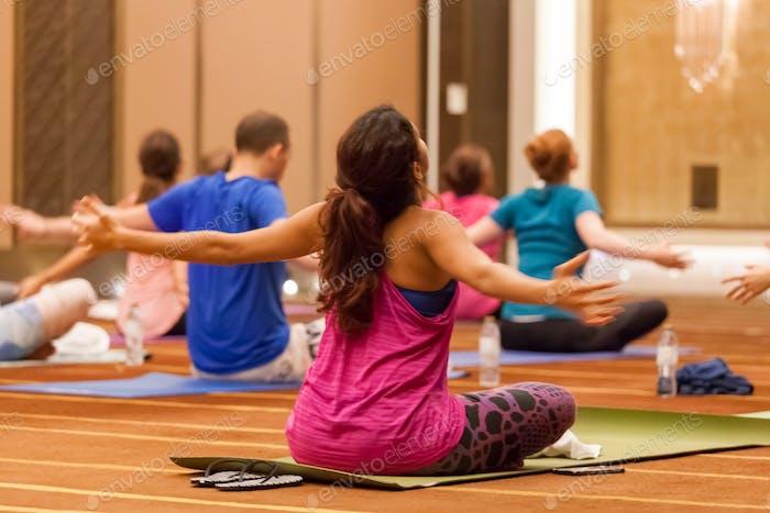 Yoga meditation, fitness class