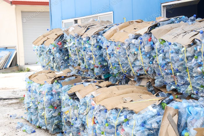 Plastic pet bottles compacted for recycling