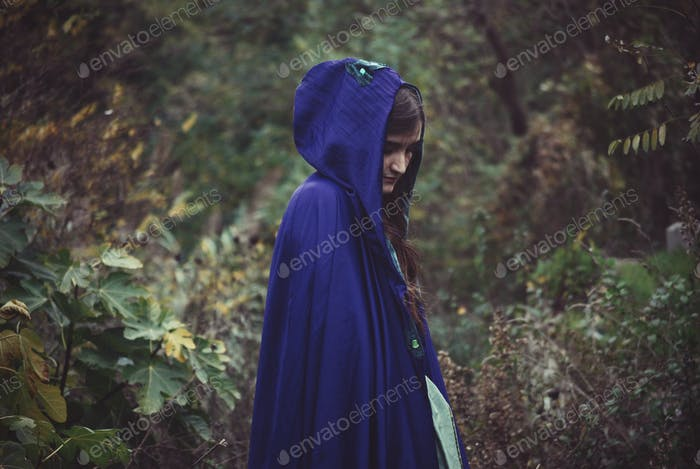 Fantasy girl with violet cloak into the woods. Bokeh background.