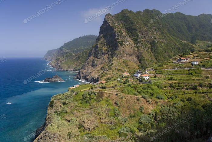 Village of Boaventura and the Arco de Sao Jorge (mountain range) on the north coast of the