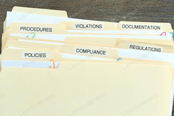 Dateiordner mit den Worten Compliance, Richtlinien, Vorschriften, Verstöße, Verfahren und Dokumentation