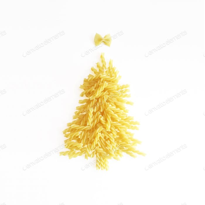 Dry fusilli pasta in the shape of a Christmas tree.