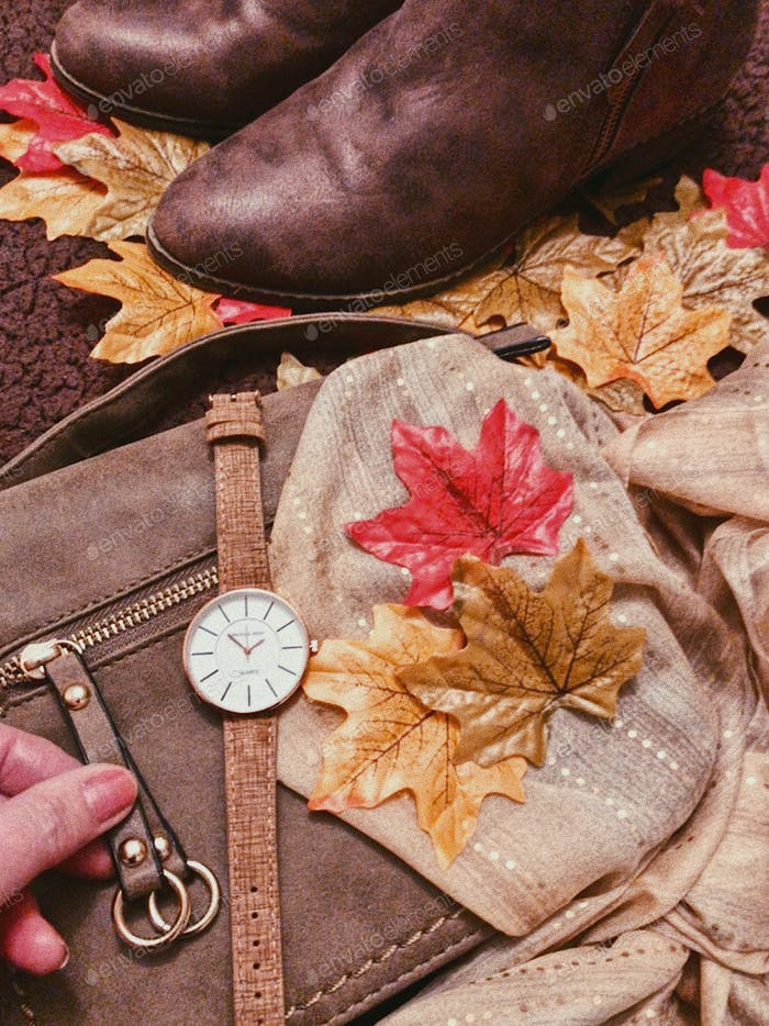 AUTUMN FALL COLORS : FASHION, COLOR COORDINATED, AUTUMN FASHION FLATLAY