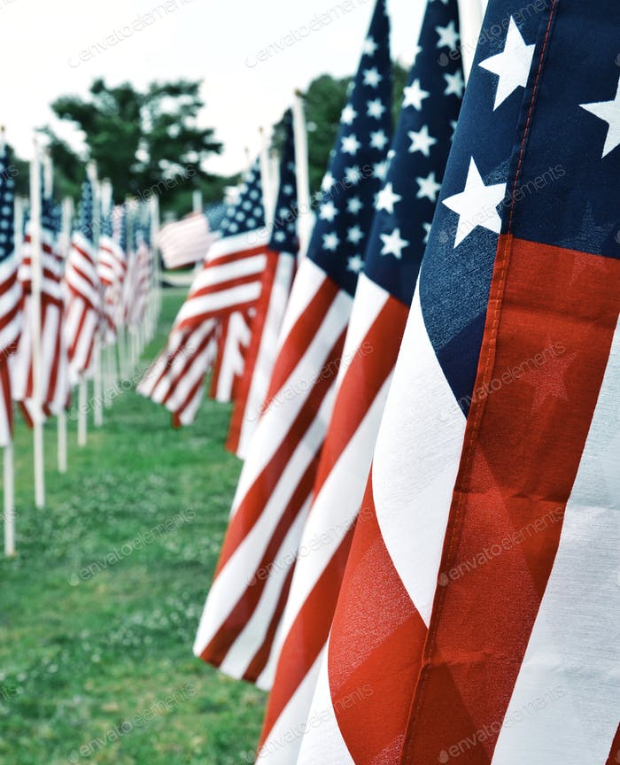 American flags on the Airborne & Special Ops Museum lawn for Memorial Day