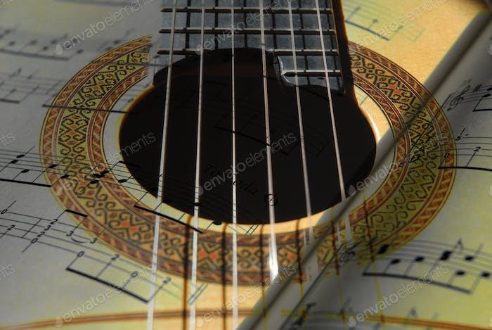 Гитара и музыка партитура, двойная экспозиция