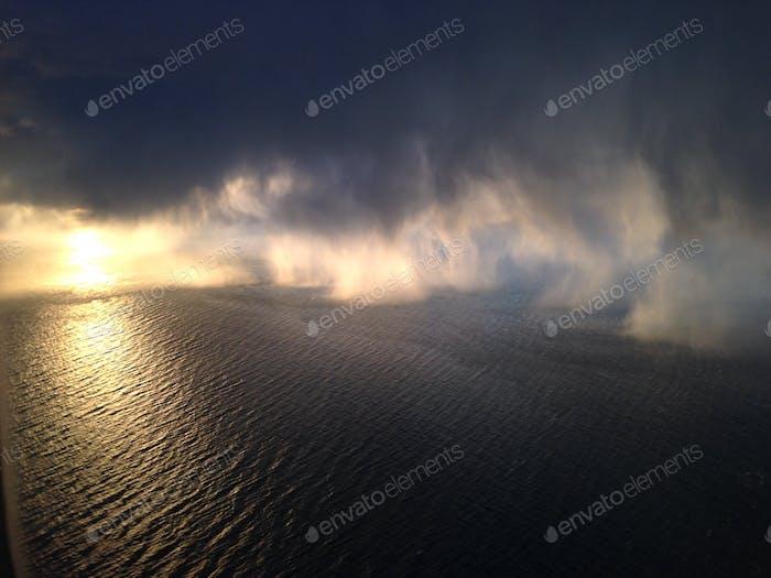 Rain captured during takeoff
