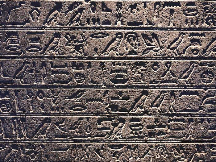 Ancient Egypt hieroglyphics. Museum. Ancient civilization.