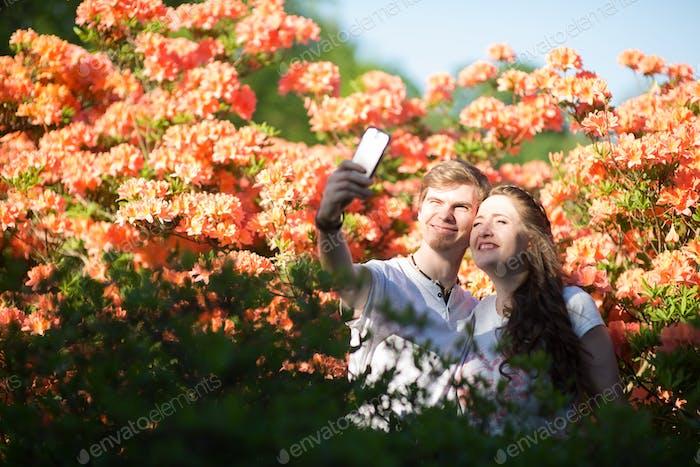 Selfies of happy people having fun.