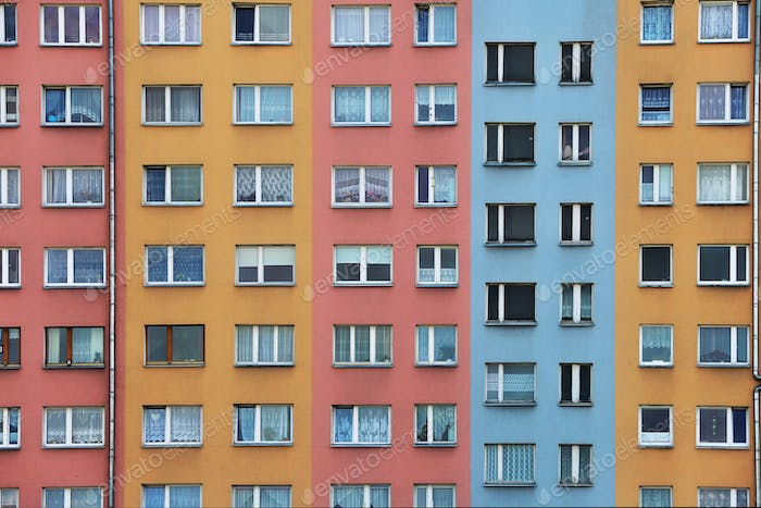 An urban geometry of a colourful architectural building. Stay home.