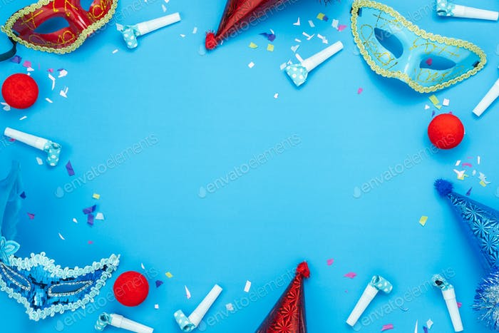 Table top view aerial image of decoration carnival day background concept.