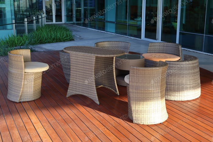 Large terrace patio with rattan furniture