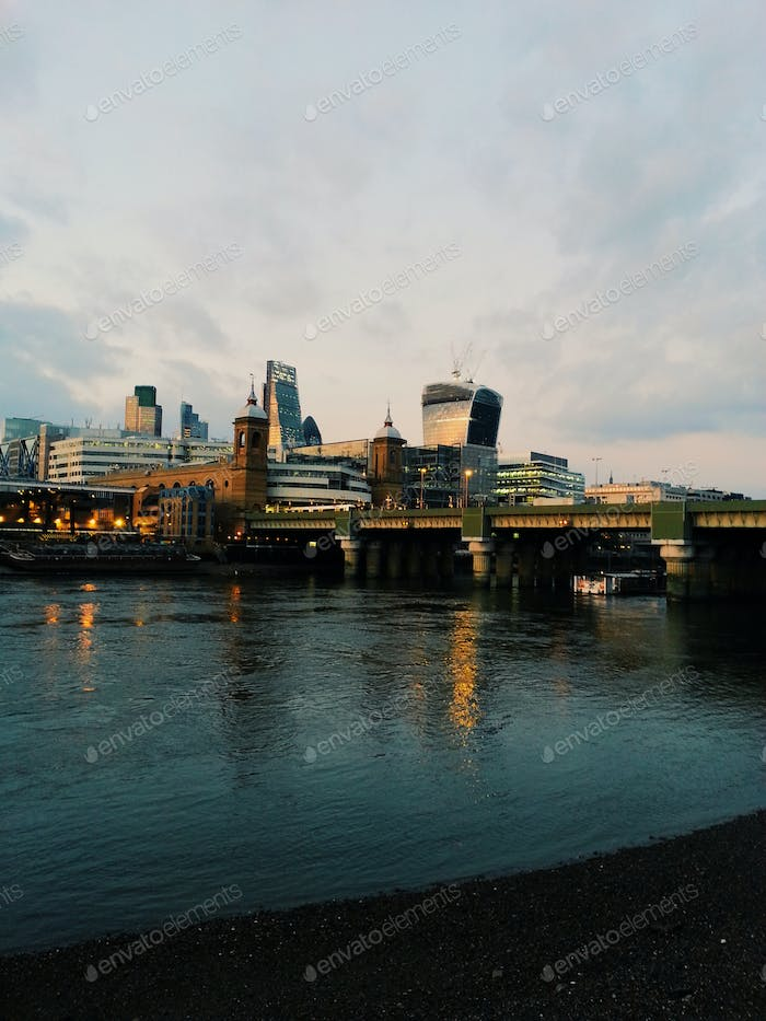 London. The City and the Thames River at sunset, riverside, cityscape, city view, skyscrapers
