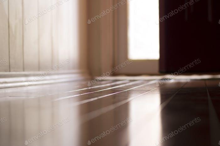 Light coming in reflecting on floor from front glass door.