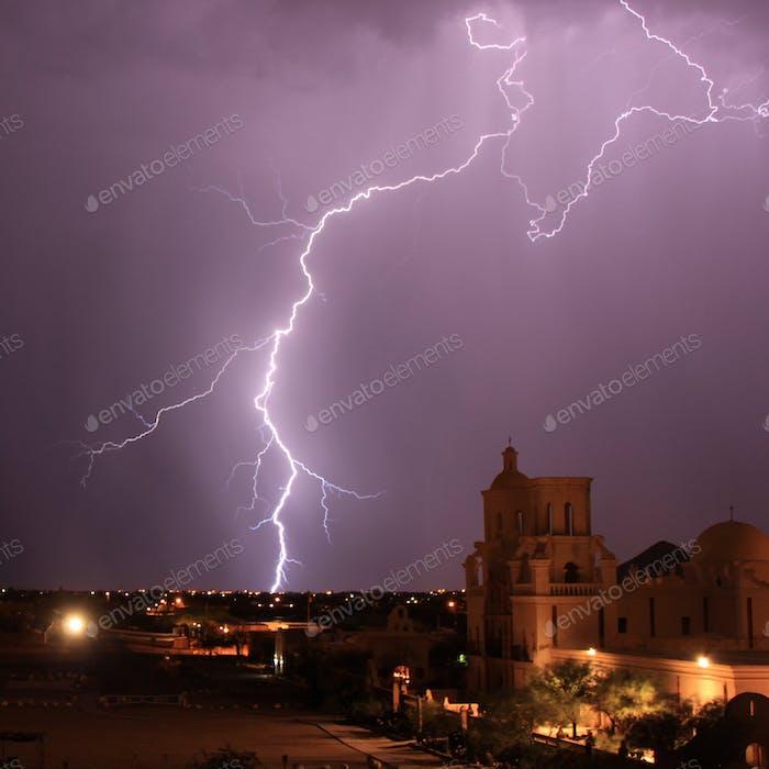 Summer lightning storm at Mission San Xavier del Bac in Tucson, AZ.
