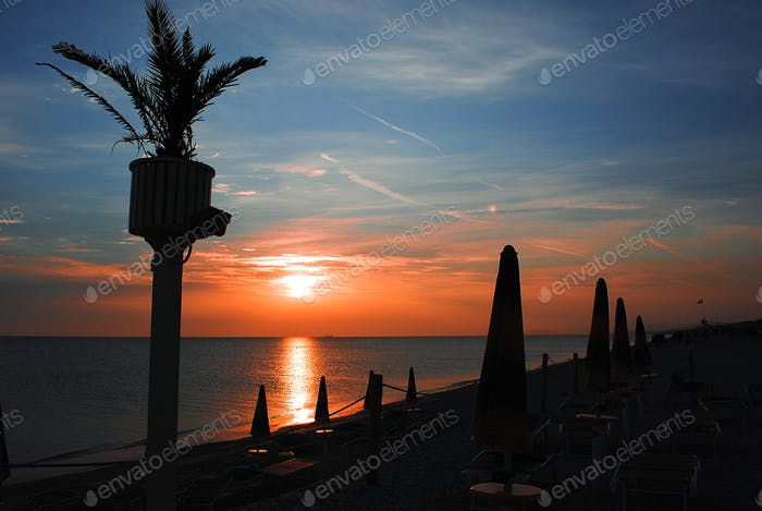 beach landscape at the Adriatic Sea in Italy,beautiful sunrise colors *NOMINATED!*