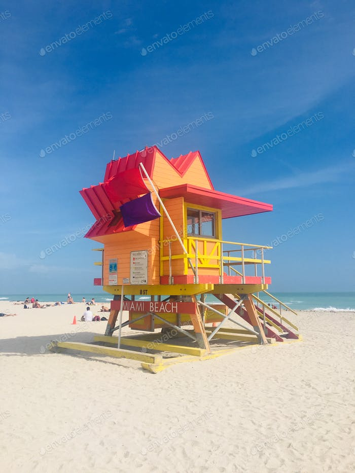 A lifeguard station on a Miami Beach.