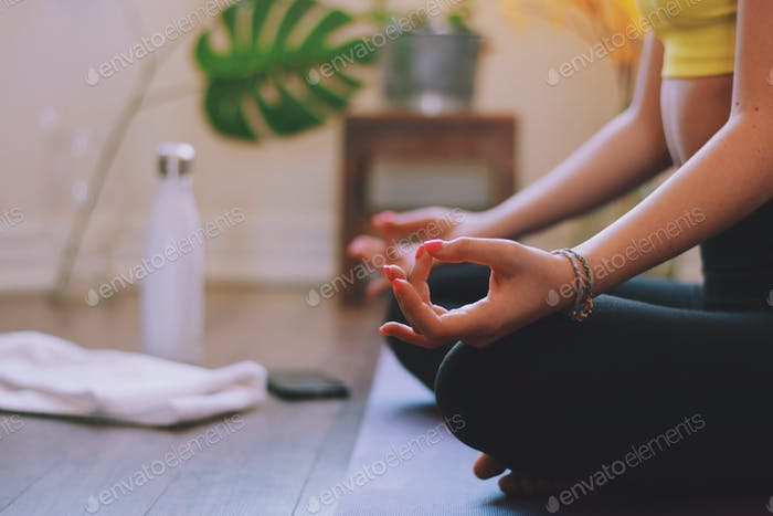 Young woman practicing yoga at home, closeup on the hand gesture  💲