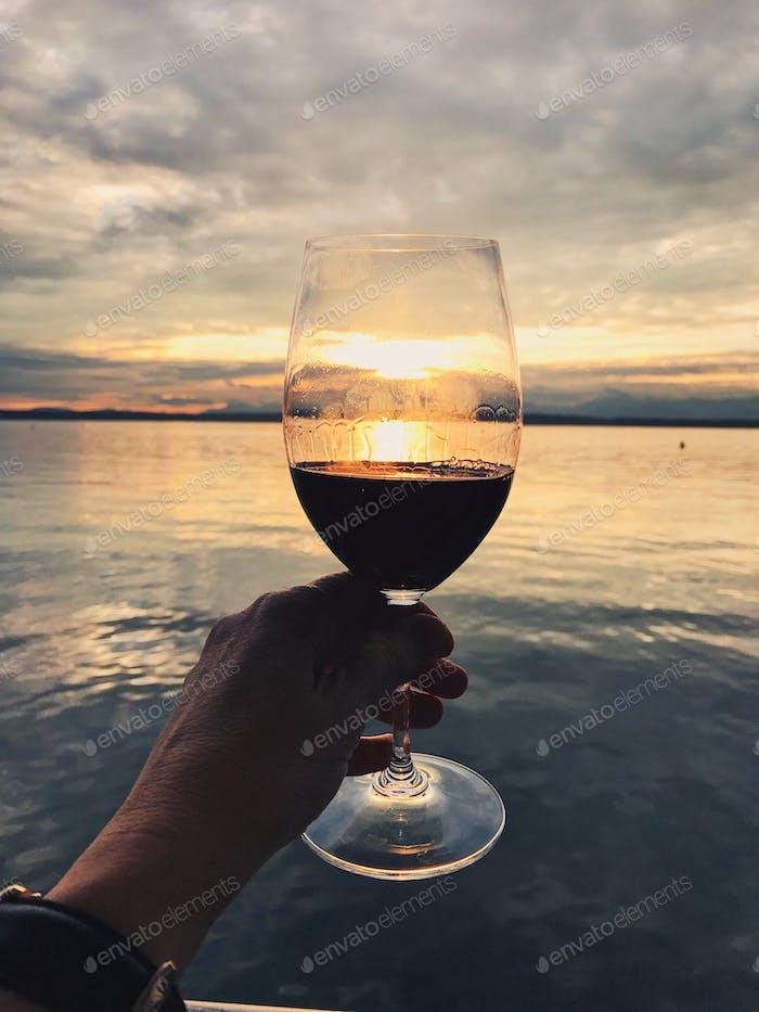 Golden Hour Wine Enjoyment