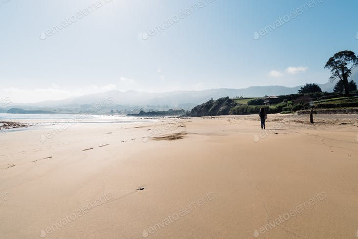 The Beach of Isla in Asturias at hazy early morning light