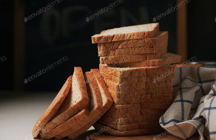 The loaf of wholewheat bread