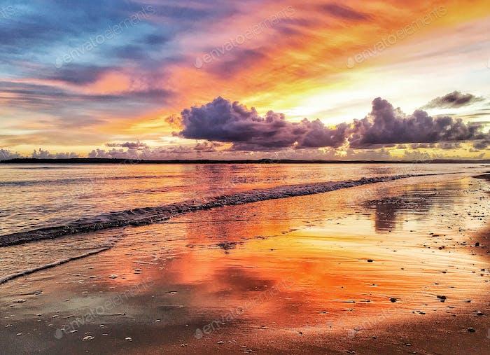 Beautiful beach landscape at sunrise.