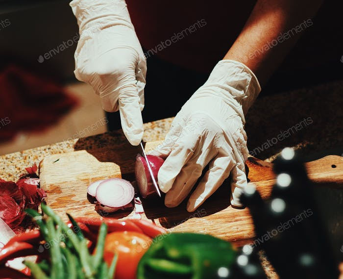 Vegetables cutting clean cuisine germ free cleanliness hygiene