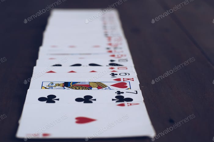 Playing cards, game night, cards lineup
