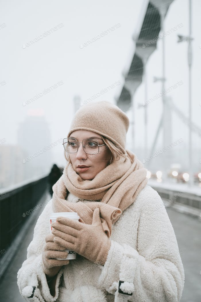 Женщина на мосту зимние снежные очки погода глаза руки шарф перчатки городской стиль жизни красивый