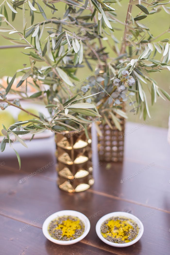 Olive oil and olive leaves