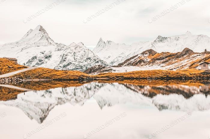 Reflection. Mountains in Grindelwald, Switzerland