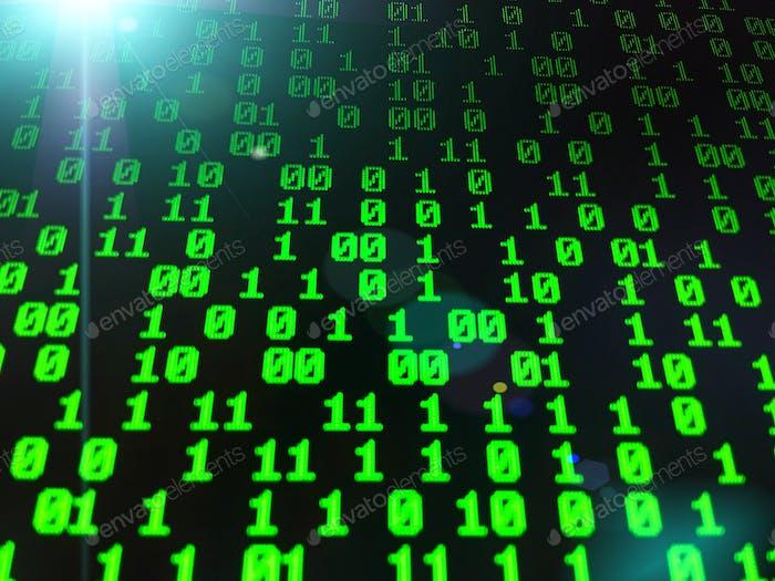 Matriz de datos de números binarios en pantalla