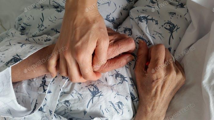 holding elderly family member's hand in hospital during end of life care