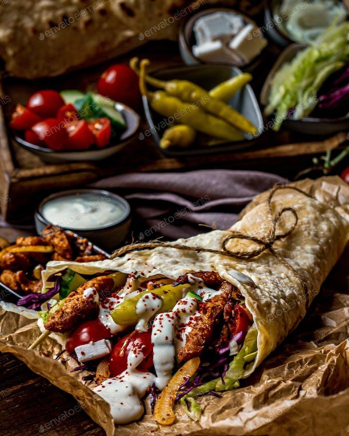 vegan Gyros wrap with a bunch of veggies