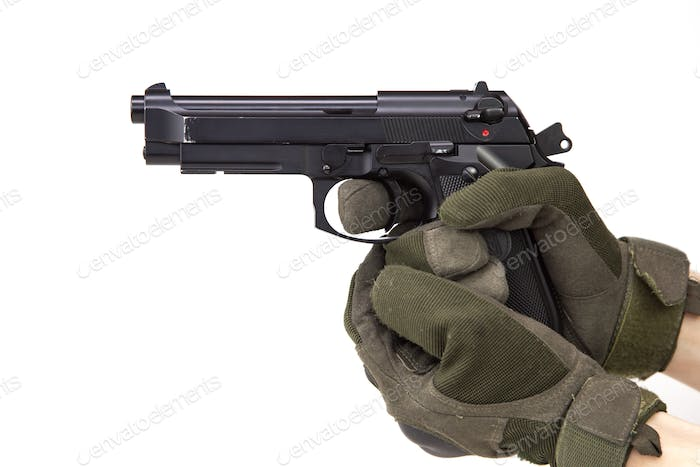 game weapon for airsoft in hands on a white background