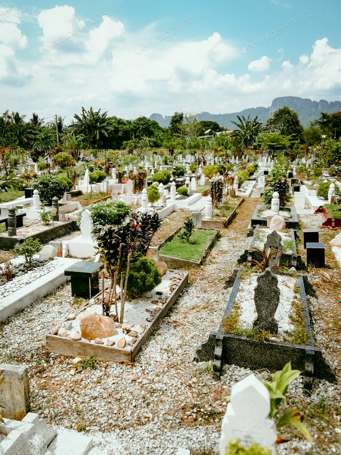 Muslim graveyards in a sunny day