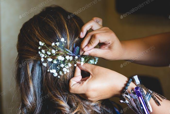 Pinning Flowers in Hair