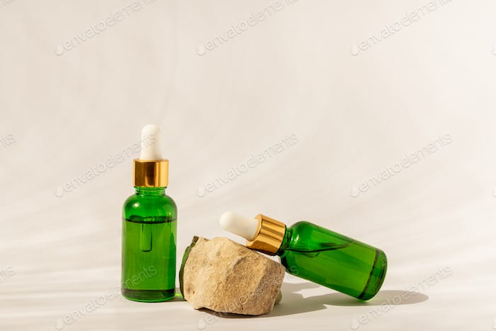 Assortment of unbranded products for face and body care. Copy space