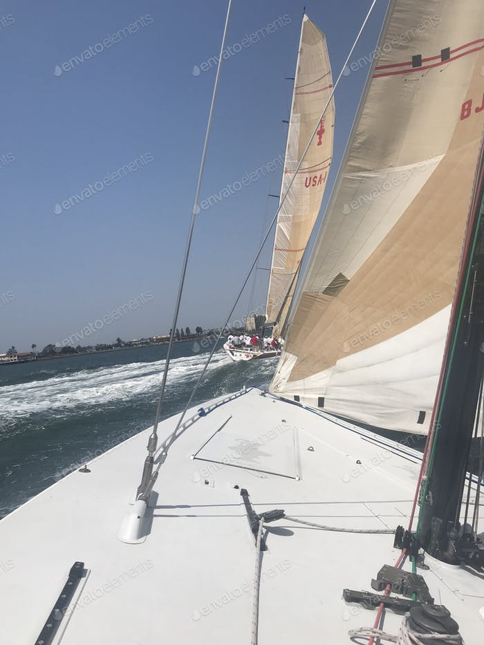 The deck of sailboats as they are racing in the harbor.