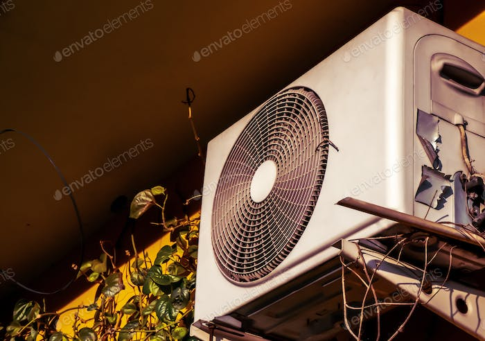 The retro of an evaporator coil and condenser coils of air conditioner in the classic house