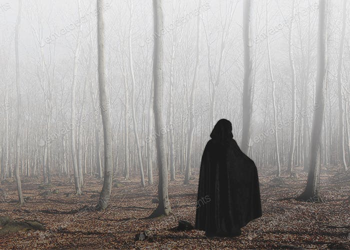 Cloaked figure in woods