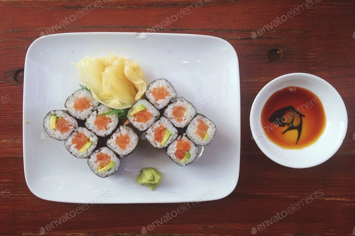High angle view of sushi on plate