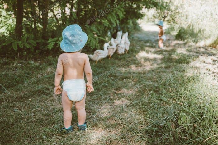 Kinder begleiten die Enten zum Fluss. Kinder grasen ein Geflügel