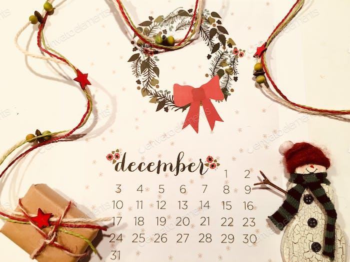 flach legen Dezember-Kal