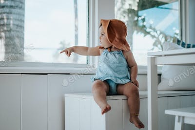 baby looking out a window