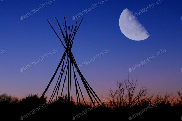 Teepee & Rising Moon